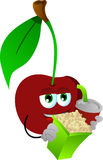 Cherry holding popcorn and soft drink Royalty Free Stock Image