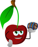 Cherry holding a small barrel Royalty Free Stock Photography