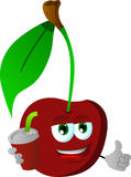 Cherry holding soda and showing thumb up sign Royalty Free Stock Image