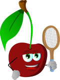 Cherry holding a tennis rocket Royalty Free Stock Photography