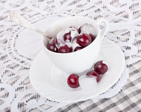 Cherry with ice cream Stock Photography
