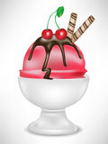 Cherry ice cream in bowl Royalty Free Stock Images
