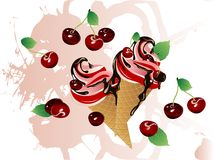 Cherry ice cream Stock Photo