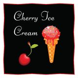 Cherry ice cream. Dessert on a black background for the menu of the restaurant and cafe. Icon of food on a white background. Isolated Vector Illustration Royalty Free Stock Photo