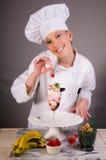 Cherry Ice Cream Dessert Chef Stock Photo