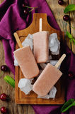 Cherry Ice cream with fresh cherries and ices Stock Photography