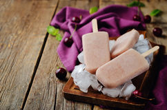 Cherry Ice cream with fresh cherries and ices Royalty Free Stock Photography