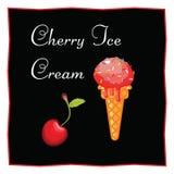 Cherry Ice Cream Postre en un fondo negro para el menú del restaurante y del café Icono de la comida en un fondo blanco Foto de archivo libre de regalías