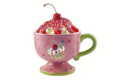 Cherry Ice Cream Sundae Stock Photography