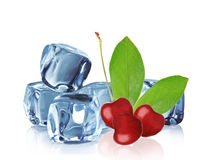 Cherry with Ice cubes Royalty Free Stock Image