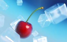 Cherry ice cubes Stock Photo