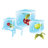 Cherry ice cubes Royalty Free Stock Photography