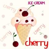 Cherry icecream on the white background Stock Image