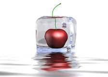 Cherry Icecube In The Water. A picture of an icecube with a cherry inside in the water Stock Photo