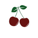 Cherry icon. Isolated On a White Background Stock Image