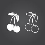 Cherry icon. Solid and Outline Versions. White icons on a dark b. Ackground Stock Photo