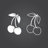 Cherry Icon Versions de solide et d'ensemble Icônes blanches sur un b foncé illustration stock