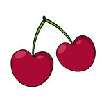 Cherry Illustration; Red cherries drawing Stock Photo
