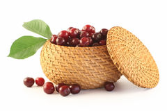 Cherry In A Basket Royalty Free Stock Photos