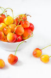 Cherry isolated on white background. Agriculture. Close-up. Top view Royalty Free Stock Photo