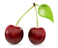 Cherry isolerad sött white Royaltyfri Fotografi
