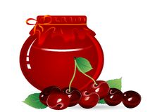 Cherry jam. Jar of cherry jam and red cherries Royalty Free Stock Images