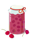 Cherry jam. In a jar. vector illustration Royalty Free Stock Photo