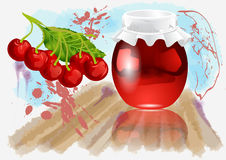 Cherry jam. On abstract multicolor grunge background Royalty Free Stock Image