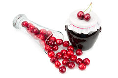 Cherry jam and cherries Royalty Free Stock Image