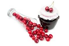 Cherry jam and cherries Royalty Free Stock Image