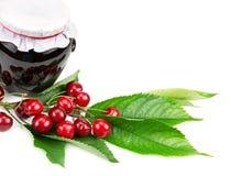 Cherry jam and cherries Stock Images
