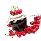 Cherry jam and cherry fruit Stock Images