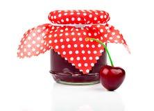Cherry  jam and fresh berries Stock Photos