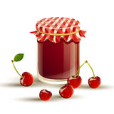 cherry jam and fresh cherries Stock Photos