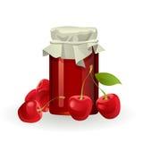 Cherry jam with fresh cherries Stock Photo