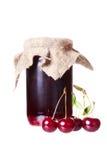 Cherry jam glass jar Stock Photography