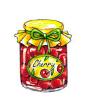 Cherry jam in a glass jar are isolated on a white background. Animation illustrations. Handwork. Markers.  Royalty Free Stock Image