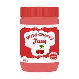 Cherry jam in glass jar. Made in cartoon flat style. Healthy nutrition Stock Images