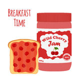Cherry jam in glass jar, toast with jelly. Flat style. Cherry jam in glass jar, toast with jelly. Made in cartoon flat style. Healthy nutrition Stock Photos