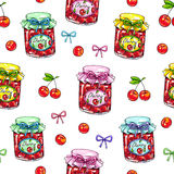 Cherry jam in a glass jar on a white background. Seamless pattern for design. Animation illustrations. Handwork. Markers.  Stock Image