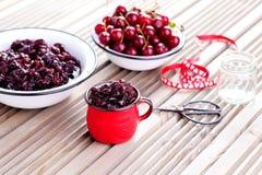 Cherry jam Stock Images