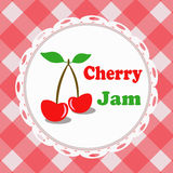 Cherry jam, illustrated label Royalty Free Stock Photos