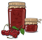Cherry jam. Illustration of jars of canned goods with cherry jam and fresh cherries Stock Photography