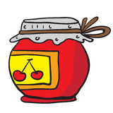 Cherry jam jar Stock Images