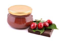 Cherry jam jar Royalty Free Stock Photos