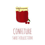 Cherry jam-jar, confiture sweet collection, element for design Stock Images