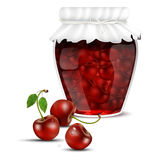 Cherry jam in a jar and fresh cherries Royalty Free Stock Photo