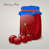 Cherry jam in a jar and fresh cherry on grey background. Simple cartoon style. Vector illustration. Cherry jam in a jar and fresh cherry isolated on grey Stock Photography