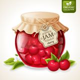 Cherry jam jar. Natural organic homemade cherry berry jam in glass jar with tag and paper cover vector illustration Stock Photos