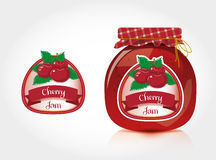 Cherry jam label with jar stock illustration